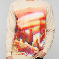 Deter Abstract Scenery Pullover Sweatshirt- Taupe