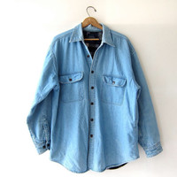 Vintage LINED denim shirt. Washed out button down shirt. Denim boyfriend shirt. Oversized denim jacket shirt.