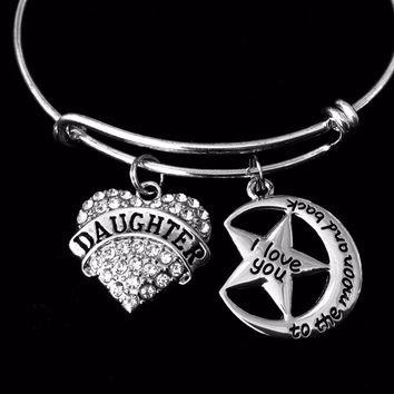 Daughter I Love You to The Moon Adjustable Bracelet Crystal Heart Expandable Charm Bracelet Silver Wire Bangle Rhinestone Bling Bracelet Gift