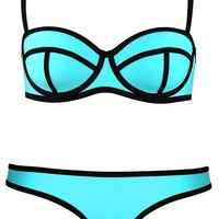 ImJoy Push up Bright Bling Bikini Set Swimsuit Swimwear (M, Blue)
