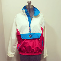 Vintage 80s The Woolrich Woman Windbreaker Jacket / White Magenta and Neon Blue Color Block / Size S