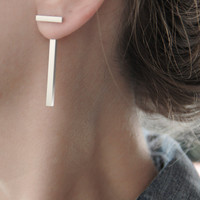 """Silver Ear Jackets Single/Pair - Square Tube """"T"""" Geometric Sterling Silver Bar Earrings - Double Front Back Earrings - High Fashion Jewelry"""