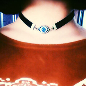 Celebrity Inspired Trendy Evil Eye Black Velvet Choker