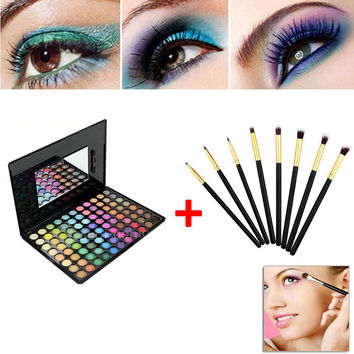 Eyeshadow Kit 88 Color Shadow Palette Make Up Eyeshadows + 8pcs Eye Foundation Blending Brush