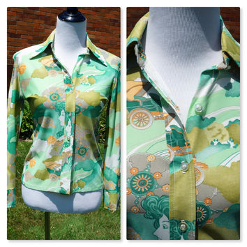 Vintage 70s Wide Pointed Collar Shirt, Watercolor Print, Button Down Blouse, Polyester Light Sheen, Long Sleeve, Brady Bunch Style, Green