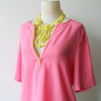 Vintage Pink Yellow Top//Blouse