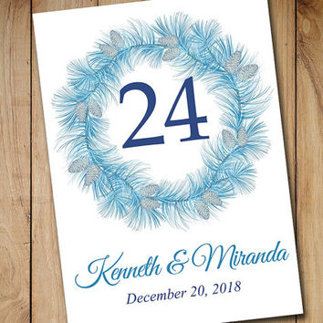 "Printable Wedding Table Number Template - Winter Wonderland ""Winter Wreath"" Blue Silver Pinecone - Printable Table Card Instant Download"