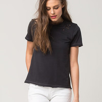 FULL TILT Destructed Edge Womens Tee | Knit Tops + Tees