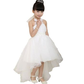 White Wedding Girl Princess Formal Dress for size 4 5 6 7 8 Girls Clothes Children's Baptism Costumes Toddler Kids Dresses Girl