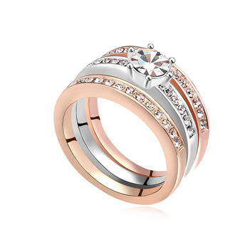 White 8 2015 New Engagement Ring Set of Rings Three Row Bague for Women made with Swarovski Elements Crystals from Swarovski
