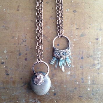 Tumbled Stone Necklace - Electroplated Copper Pendant - Huge Statement Pendant - Hippie Boho Stone Raw Mineral Chakra
