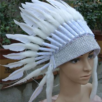 White Indian Feather headdress handmade feather costume chief war bonnet native feather hat