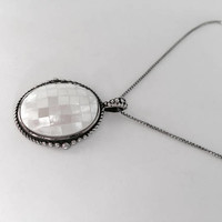 "Vintage Mosaic Mother of Pearl Pendant set in Sterling Silver Setting hanging from 18"" Sterling Box Chain, Victorian Pendant"