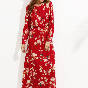 Red Floral Print A Line Dress
