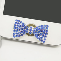1PC Bling Crystal Blue Sapphire Color Bow Rhinestone Cell Phone Home Button Sticker Charm for iPhone 4s,4g,5,5c Valentine Gift