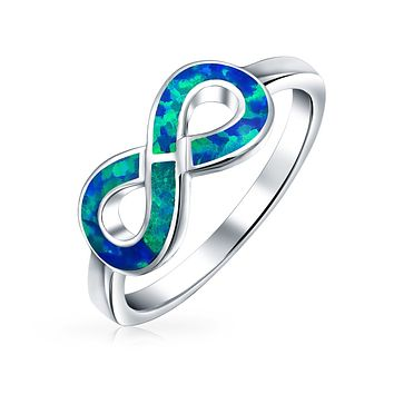 Blue Created Opal Inlay Love Knot Infinity Ring 925 Sterling Silver