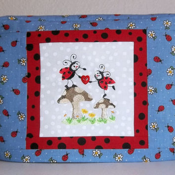Two Slice Toaster Cover, Ladybug Toaster Cover, Blue Toaster Cover with Ladybugs and Daisies