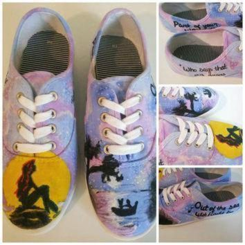 QIYIF little mermaid custom painted shoes ariel disney hand painted shoes vans converse