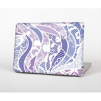 The Purple and White Lace Design Skin Set for the Apple MacBook Air 11""