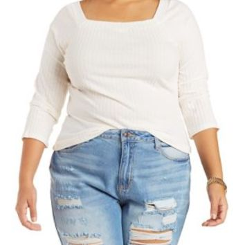 Plus Size Ivory Square Neck Ribbed Top by Charlotte Russe