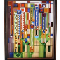 Saguaro Forms Cactus Flowers Bright Colors with Stand Stained Glass by Frank Lloyd Wright 14.8H