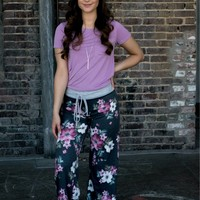 Floral Bliss Lounge Pants- Charcoal