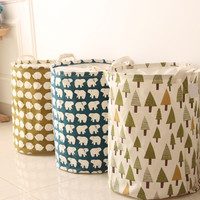 Vogue Practical Foldable Cotton Linen Washing Clothes Laundry Basket Toy Bag Hamper Storage #85300
