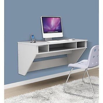 White Computer Desk Laptop Home Furniture Office Table Workstation Floating