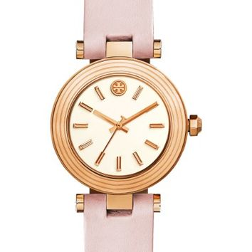 Tory Burch Classic-T Leather Strap Watch, 30mm   Nordstrom