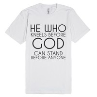 Kneel Before God-Unisex White T-Shirt