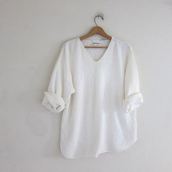 vintage white baggy sweater. vneck knit sweater. minimal minimalist sweater.