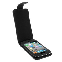 ProTek Black Leather Folio Flip Hard Plastic Insert Case Cover for Apple iPod Touch 4th Gen Generation 4G 8GB 32GB 64GB