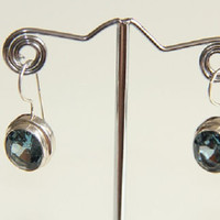 Sterling Silver Stone Set Topaz Dangle Earrings, Womens Topaz Ea
