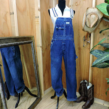Vintage 1960s Madewell Overalls / 34 X 31/ 60s work wear utility overalls / made in USA / Unisex dark wash bib overalls / over all jeans