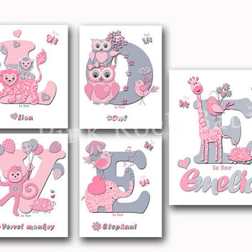 Love nursery decor gift for baby girl name poster animals wall art elephant giraffe print kids room letterpress artwork typography pink