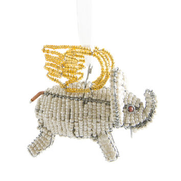 Beaded Flying Elephant Ornament