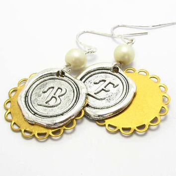Personalized Wax Seal Earrings Initial Monogrammed, Anqiue Silver Earrings, Gold Plated Lace, Bridal, Wedding Earrings, Stamped Earrings