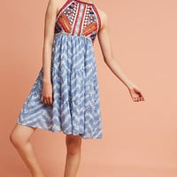Tiered & Embroidered Tie-Dye Dress