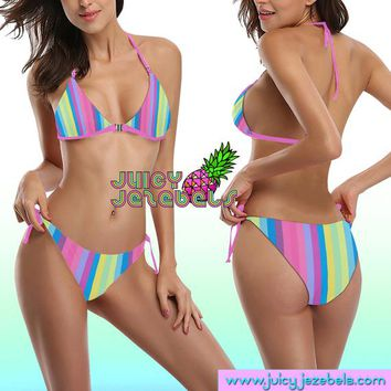 PASTEL RAINBOW Ibiza Style Rave Outfit Rave Bra Posing Bikini Top Hippie Clothes Sexy Bikini Rave Wear Cheeky Bikini Two Piece Swimsuit