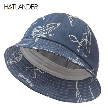 [HATLANDER]Fashion casual bucket hat for women men dancer hip hop cap unisex fishing chapeau bonnet boys girls outdoor sun hats