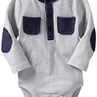 Denim-Trim Bodysuits for Baby