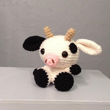 Baby cow, stuffed animal, amigurumi, crocheted cow, nursery decor