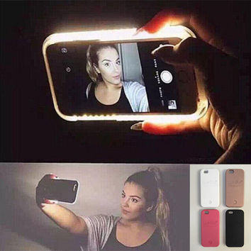 Hot Cool LED Light selfie Phone Case for Iphone se 7 7Plus Iphone se 5s Iphone6 6s Plus Case Light Selfie Led Cover + gift box+Free Gift Tatto Choker Necklace