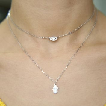 New sexy women jewelry lucky hamsa hand evil eye cham drop silve 0b361d79e5