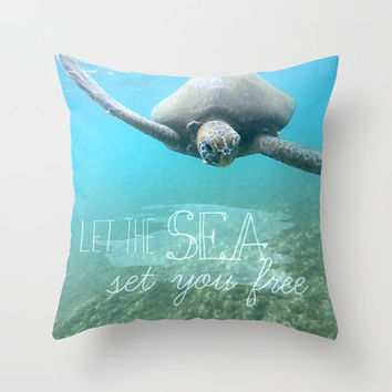 Free Turtle  Throw Pillow by Sunkissed Laughter