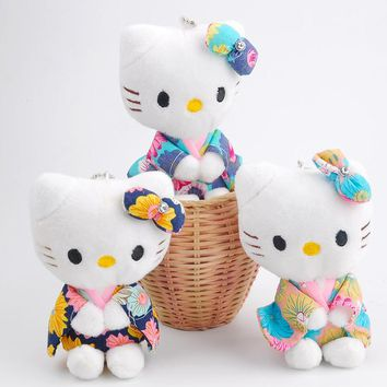 Super HOT Delicate HELLO KITTY 11cm Height , Plush Stuffed TOY DOLL , Key chain Pendant Plush TOY , Wedding Bouquet Gift