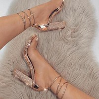 Fashionable large-sized sexy golden diamond straps with high-heeled sandals Gold