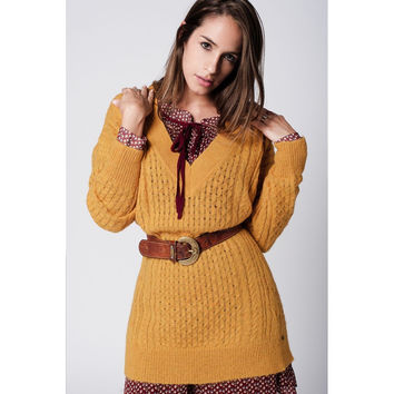 Sweater dress in mustard with Long Sleeves and v-neck