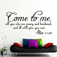 Wall Decals Quotes Bible Verse Psalm Matthew 11:28 Come To Me All You Lord God Quote Vinyl Sticker Living Room Bedroom Decal Home Decor DA3611