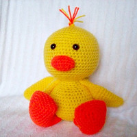Crochet Easter Duckling Stuffed Animal, Crochet Animal, Easter Duck in Yellow and Orange